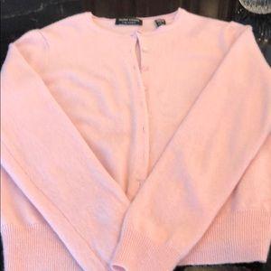 Valerie Stevens 2 ply cashmere cardigan pink